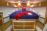 Interiors onboard the Back Cove Downeast 37 in Portland, Maine.
